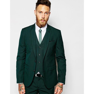 Wholesale Latest Coat Pant Designs Dark Green Casual Men Suit Slim Fit Groom Tuxedo Stylish Prom Suits Fashion Blazer Jacket Pants Vest