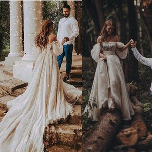 Wholesale Beach 2020 Bohemian Wedding Dress Sexy Off Shoulder Puff Sleeve Puffy Bridal Gowns Long Train Rustic Country Wedding Gowns Hippie