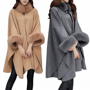 Modest Autumn Winter Faux Fur Collar Cape Shawl Long Sleeves Women Poncho Cape Coat Gray Beige Warm Woolen Jackets In Stock