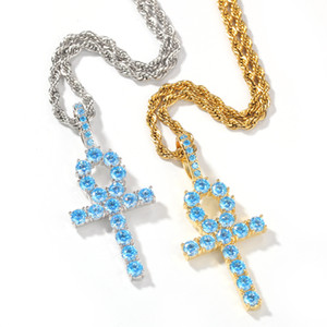 Wholesale THE BLING KING Luxury Micro Baby Blue Cubic Zirconia Ankh Cross Pendant Fashion Iced Out Bling Key Of Life Necklace Jewelry
