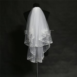 Wholesale 2019 Simple and Elegent Wedding Veil Bridal Tulle Veils with Comb and Lace Ribbon Edge