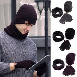 Wholesale Man Ladies pc Winter Soft Knit Beanie Hat Scarf Screen Gloves Set women s scarves handkerchief hijab scarf FE26