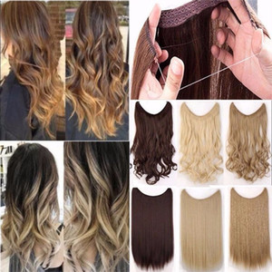 "Wholesale 24"" Long Straight High Natural Colors Silky High Temperature Fiber Synthetic Clip in Hair Hairpiece Clip in Hair Extensions"