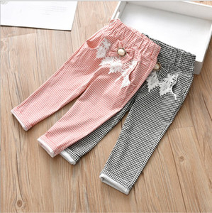 Retail Baby Girls Korean flare Plaid Pants Cotton sport Long streetwear pants trousers Tights Children designer sweat pant clothes on Sale
