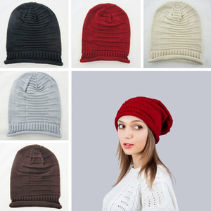 Wholesale Fashion Women Knit Plicate Hat Ladies Winter Soft Beanies Cap Outdoor Casual Warm Knitted Skull Ski Cap TTA1749
