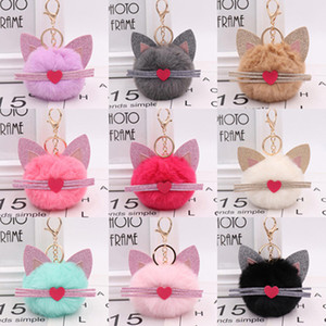 Wholesale 10pcs Girls Fashion Jewelry Keychains Cartoon Cat with PU Beard Dolls Pendant Ornament Key Ring For Women Bags Decoration