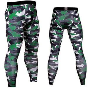 Wholesale 2018 Men Compression Pants Tights Casual Bodybuilding Male Trousers Brand Camouflage Army Green Skinny Leggings