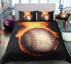 Wholesale Black Burning Baseball Bedding Set King Size Cool Energetic 3D Duvet Cover Queen Home Dec Single Double Bed Set With Pillowcase 3pcs