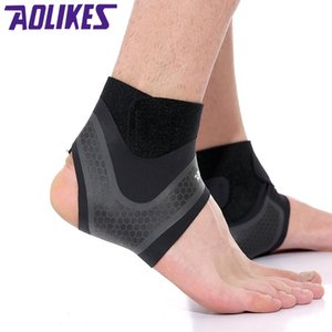 Wholesale AOLIKES Sport Ankle Brace Protector Compression Ankle Support Pad Protection Elastic Brace Guard Support Football Basketball