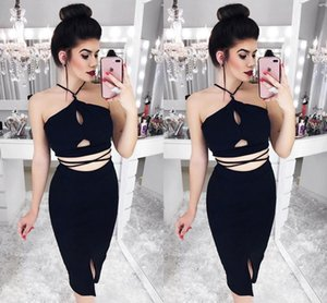 Sexy Little Black Short Party Dresses 2019 Halter Hollow Out Tea Length Short Prom Evening Gowns Cheap Fashion Women Casual Dress Club Wear on Sale