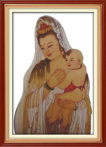 Wholesale painting kwan yin for sale - Group buy SongZi Kwan yin home decor painting Handmade Cross Stitch Embroidery Needlework sets counted print on canvas DMC CT CT