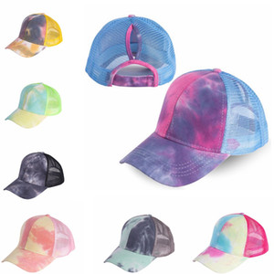 Summer Mesh Ponytail Baseball Cap Hats Fashion Tie Dye Snapback Caps for Outdoor Sport Hat IIA124