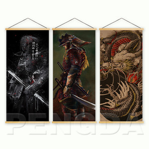 Wholesale Home Decor Nordic Style Canvas Picture Printed Japanese Samurai Dragon Scroll Hanging Painting For Living Room Wall Art Poster