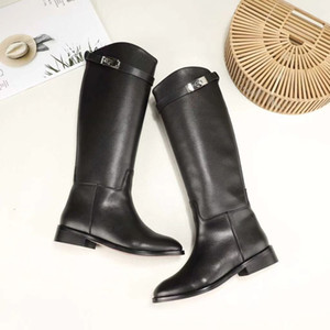 Wholesale Genuine Leather Long Boots Sexy Woman Motorcycle Booties Belt Strap Metal Shark Lock flat heel Knee High Boots