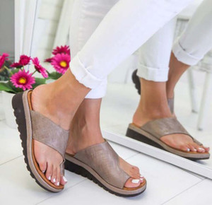 Wholesale Best selling model Lady sandals New women s plus size sandals with solid color pulleys and toe lifts Five kinds of color sales