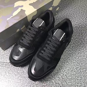 high quality fashion men designer shoes black gray sneakers genuine leather stud sneakers shoes casual womens men dress shoes with box