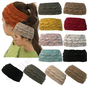 Wholesale Women C Logo Confetti Thick Knit Headbands Winter Headwraps Hair Bands Chunky Stretchy Warm Ribbed Beanie Hat Crochet Caps Accessory C92403