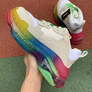 ingrosso fashon donne-Sneakers Triple S Rainbow Scarpe casual Fashon Sneaker Triple S Scarpe da donna in pelle color verde neon al neon Sneakers stringate basse in vendita