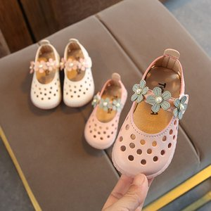 New Summer Girl Flower Sandals 1-2 Years Old 3T Soft Bottom Children's Fashion Sandals Baby Pearl Hollow-out Design Flat Bottom Lovely on Sale