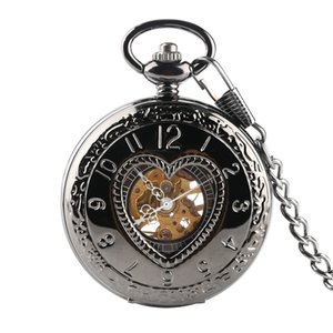 Wholesale Retro LOVER Heart Shape Cover Men Mechanical Pocket Watch Hollow Steampunk Skeleton Men Women Mens Male Clock Watches cm Chain