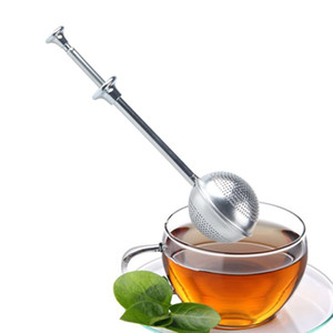 Wholesale Stainless Steel Tea Strainer Telescopic Push Tea Infuser Ball Loose Leaf Herbal Filter Home Kitchen Bar Drinkware Tool HHA1029