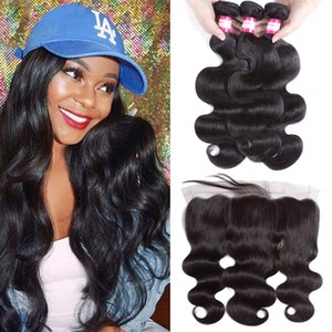 Wholesale Brazilian Body Wave 3 Bundles with Frontal Ear to Ear Lace Frontal Closure with Bundles Brazilian Virgin Hair Lace Frontal with Baby.Hair