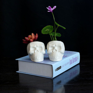 Wholesale White Succulent Planters Skull Ceramic Planters Green Plant Pots Flowerpot Cactus Planters Office Table Decor Zakka Pieces ePacket