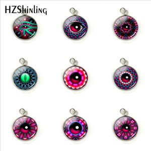 Wholesale Magic Colorful Eyes Glass Cabochon Pendants Magic Purple Red Color Eyes Stainless Steel Plated Round Charms Jewelry Accessory