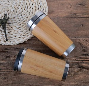 Wholesale Creative Stainless Steel Cup Bamboo Case Thermal Insulation Water Bottle Vacuum Insulated Coffee Travel Mug Leakproof Tea Cups