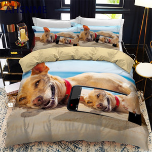 AHSNME Lovely Selfie Dog Quilt Cover Set Puppy Bedding Set Cute Pet Dog Bedlinen for Adult Kids Dropshipping