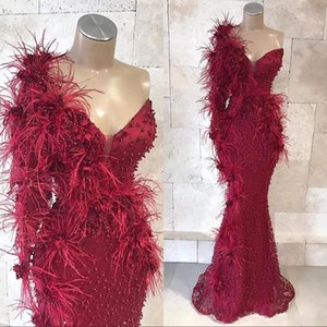 African Style Sexy Burgundy Prom Dresses Mermaid One Shoulder 3D Appliques Long Sleeves Pearls Plus Size Formal Gown Evening Party Dress on Sale