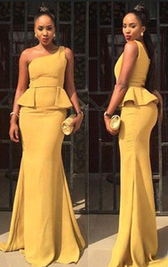 2019 Mermaid Prom Dress Sleeveless One Shoulder Banquet Evening Dresses Pretty Yellow African South Party Evening Gown Custom Made Plus Size on Sale