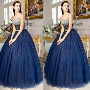 2019 Sparkle Navy Blue Sequined Prom Dress Sheer Jewel Neck Ball Gowns Full Beaded Long Evening Gowns on Sale