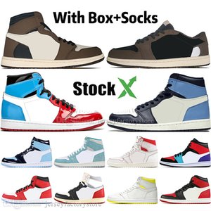 Wholesale 1 High Travis Scotts Low Fearless Obsidian Mens Basketball shoes Spiderman UNC s top Banned Bred Toe Men Sport Designer Sneakers