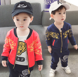 Wholesale Fashion Boys outfits fall new kids gold tiger printed T shirt long sleeve jacket sport casual pants sets baby boy clothes F9242