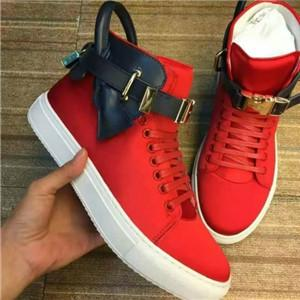 Wholesale Italy Top Cowhide Buscemi White Red Black Gold Lock Hight Top Sneakers Skate Shoes Men Women Designer Sport Casual Shoes Flats Mens casual s