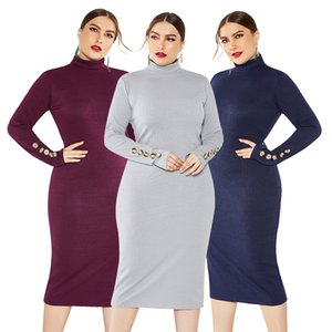Wholesale Autumn new button women s dress hot sale large size women s dress stretch long sleeved Slim knitted