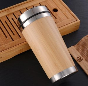 Wholesale Stainless Steel Bamboo Vacuum Cups Water coffee Bottle Dust Proof Cover Travel Mug Leakproof Outdoor H013