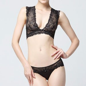 Wholesale Vest Ultra Thin Sexy Hollow out Lace Bra Beauty Back Shoulder Width Lace Deep V Women s Underwear Suit on Behalf