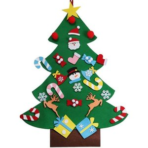 Wholesale DIY Felt Christmas Tree New Year Gifts Kids Toys Artificial Tree Wall Hanging Ornaments Christmas Decoration for Home