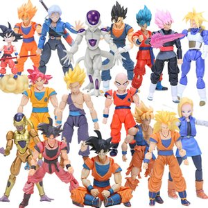 Wholesale 11 cm Shfiguarts Super Saiyan Son Goku Vegetto Vegeta Trunks Pvc Action Figures Dragon Ball Z Collection Model Dolls Toys Y19051804