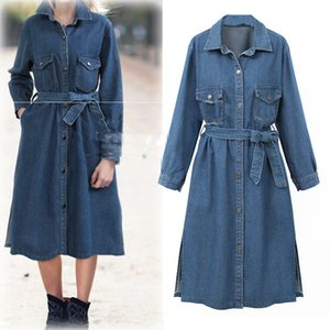 Wholesale Autumn Long Denim Jacket Female Korean Cowboy Clothing Blue Jeans Windbreaker Coats Women Outerwear