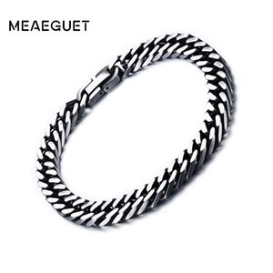 Meaeguet 8mm 10.5mm Wide Vintage Stainless Steel Chain Link Bracelet Men Jewelry Matte Finished Hand Chain Bracelet & Bangle