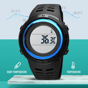 Wholesale skmei electronic watch resale online - SKMEI LED Display Body Temperature Measurement Kids Sport Watches Electronic teenager s Clock Stopwatch m Waterproof teenager s Watch