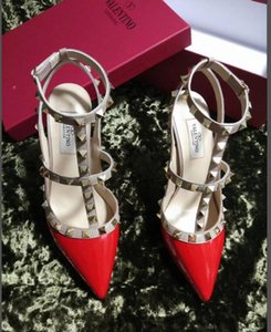 2019 Valentino 04 Women Pumps Wedding Shoes Woman High Heels sandal Nude Fashion Ankle Straps Rivets Shoes Sexy High Heels Bridal Shoes