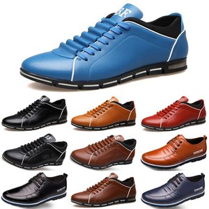 Wholesale 2020 Hot Sale Designer men leather casual shoes black navy blue brown Business fashion flat party mens trainers sneaker color4