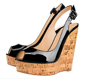 Free shipping patent leather Luxury Designer Women Summer wood Wedges 16CM High Heels 4.5CM platform Plume Sling Sandals Open Toe black nude