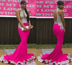 Wholesale Fuchsia Elegant Mermaid Prom Party Dresses High Neck Sleeveless Silver Lace Appliques Cutaway Side Crystal Beaded Evening Gowns Custom Made