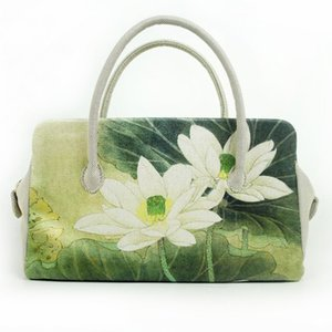 Wholesale Don t ripple original women s handbags exported to Japanese canvas bags new printed lotus National Wind fashion bag