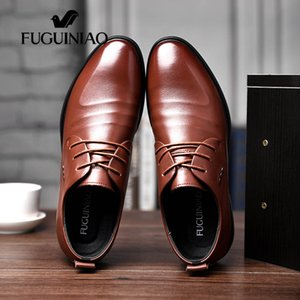 Wholesale 2018 men s Breathable dress shoes new shipping FUGUINIAO Genuine Leather perforated Men s black Business Shoes